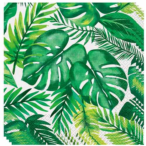 Palm Tropical Luau Luncheon Napkins 33cm 2ply - Pack of 16