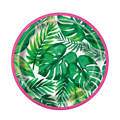 Palm Tropical Luau Round Paper Plates 17cm - Pack of 8