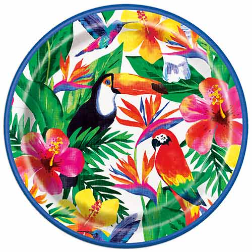 Palm Tropical Luau Round Paper Plates 22cm - Pack of 8