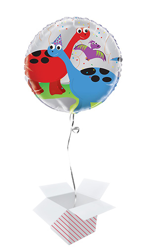 Party Dinosaur Round Foil Helium Balloon - Inflated Balloon in a Box
