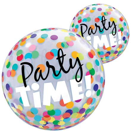 Party Time Dots Bubble Helium Qualatex Balloon 56cm / 22 in Product Image