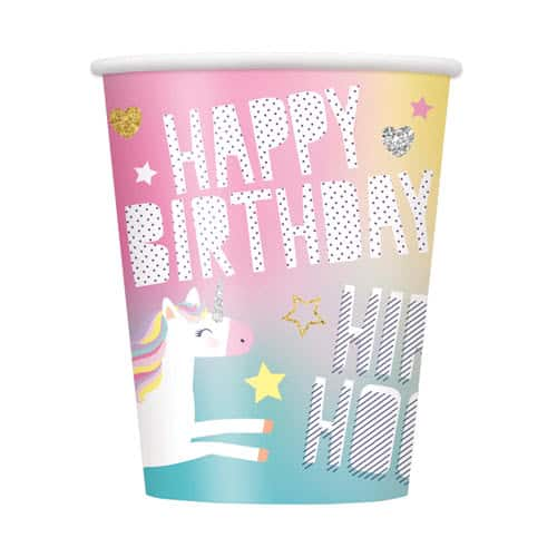 Party Time Unicorn Paper Cups 270ml - Pack of 8