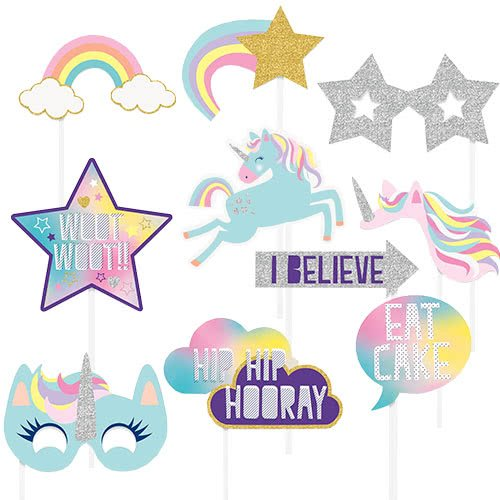 Party Time Unicorn Photo Props - Pack of 10
