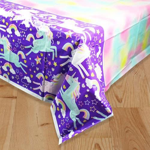Party Time Unicorn Plastic Tablecover 213cm x 137cm Bundle Product Image