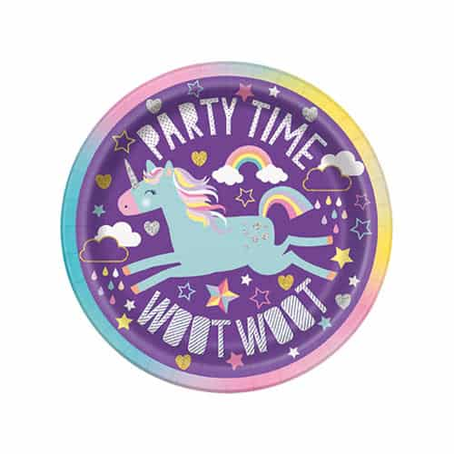Party Time Unicorn Round Paper Plates 18cm - Pack of 8