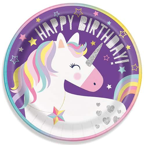 Party Time Unicorn Round Paper Plates 22cm - Pack of 8