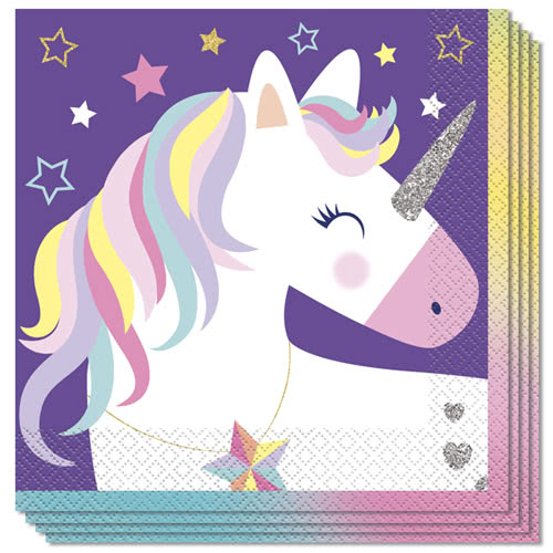Party Time Unicorn Stars Luncheon Napkins 33cm 2Ply - Pack of 16
