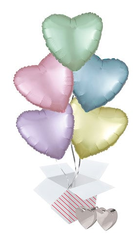 Pastel Assortment Valentine's Day Hearts Foil Helium Balloon Bouquet - 5 Inflated Balloons In A Box