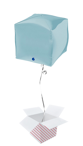 Pastel Blue 4D Square Shape Foil Helium Balloon - Inflated Balloon in a Box Product Image