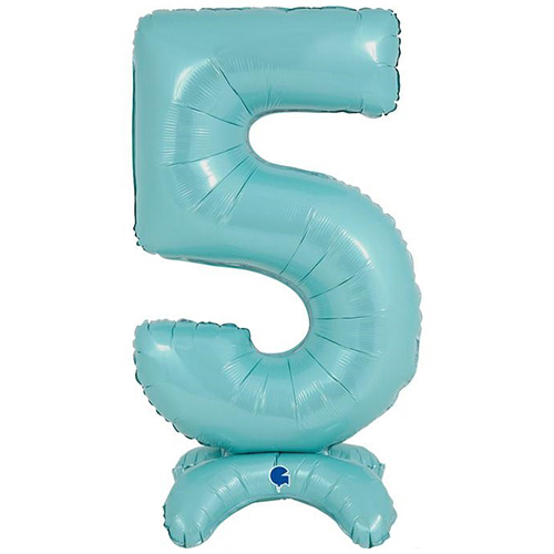Pastel Blue Number 5 Shaped Air Fill Standing Foil Balloon 64cm / 25 in Product Image