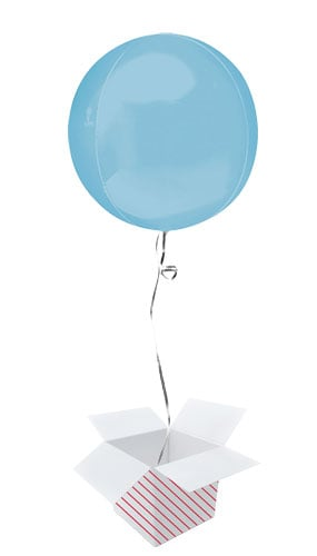 Pastel Blue Orbz Foil Helium Balloon - Inflated Balloon in a Box Product Image