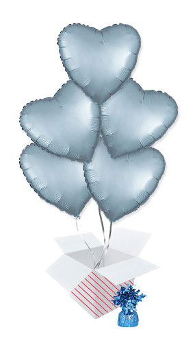 Pastel Blue Satin Luxe Heart Shape Foil Helium Balloon Bouquet - 5 Inflated Balloons In A Box Product Image