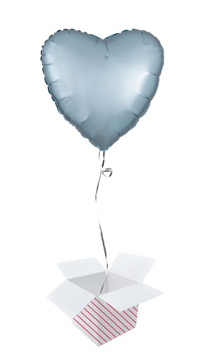 Pastel Blue Satin Luxe Heart Shape Foil Helium Balloon - Inflated Balloon in a Box Product Image