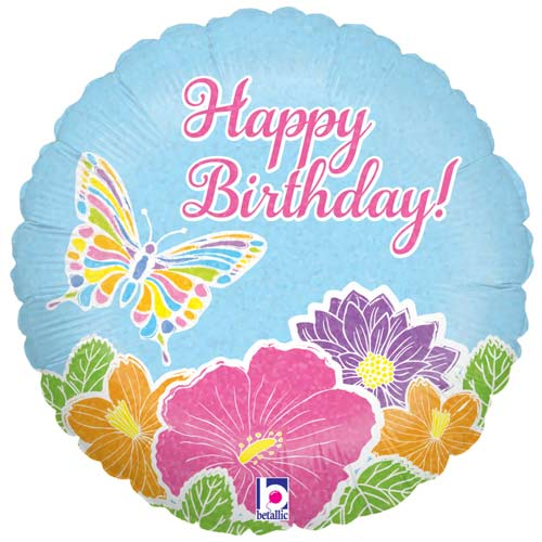 Pastel Butterfly Birthday Holographic Round Foil Helium Balloon 46cm / 18 in Product Image