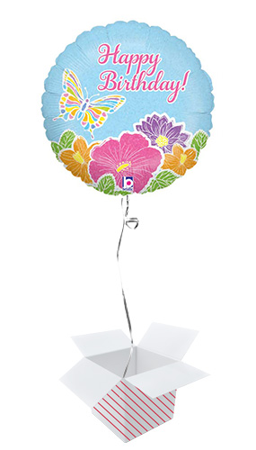Pastel Butterfly Birthday Holographic Round Foil Helium Balloon - Inflated Balloon in a Box Product Image