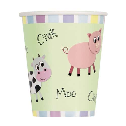 Farm Animals Paper Cups 250ml - Pack of 8 Product Image