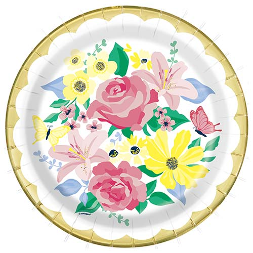 Pastel Floral Foil Stamped Round Paper Plates 22cm - Pack of 8 Product Image