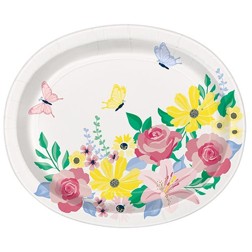 Pastel Floral Oval Paper Plates 30cm - Pack of 8 Product Image