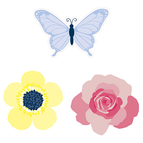 Pastel Floral Paper Cutouts Decorations - Pack of 6 Product Image