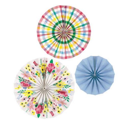 Pastel Floral Paper Fans Hanging Decorations - Pack of 3