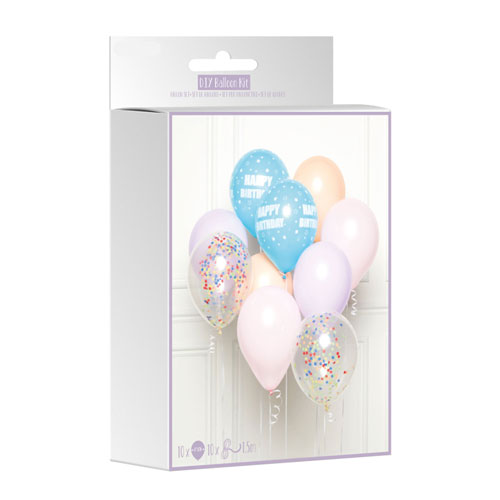 Pastel Happy Birthday DIY Latex Balloon Kit Product Gallery Image