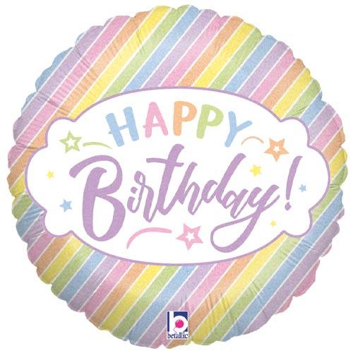 Pastel Happy Birthday Holographic Round Foil Helium Balloon 46cm / 18 in