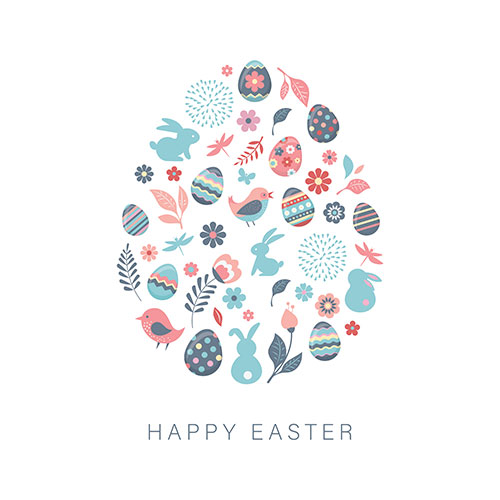 Pastel Happy Easter Birds Bunnies Eggs A2 Poster PVC Party Sign Decoration 59cm x 42cm Product Gallery Image