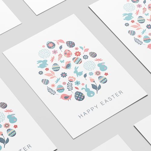 Pastel Happy Easter Birds Bunnies Eggs A2 Poster PVC Party Sign Decoration 59cm x 42cm Product Image