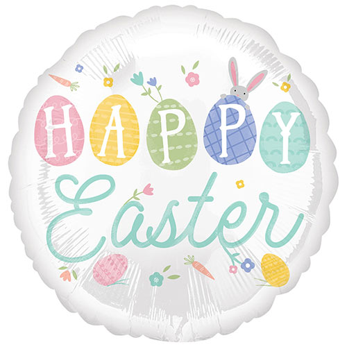 Pastel Happy Easter Round Foil Helium Balloon 43cm / 17 in
