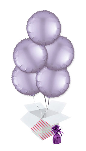 Pastel Lilac Satin Luxe Round Shape Foil Helium Balloon Bouquet - 5 Inflated Balloons In A Box Product Image
