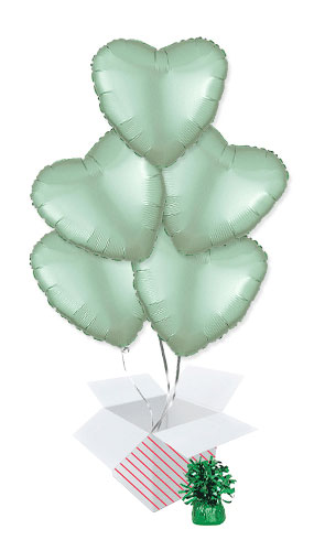 Pastel Mint Green Satin Luxe Heart Shape Foil Helium Balloon Bouquet - 5 Inflated Balloons In A Box Product Image