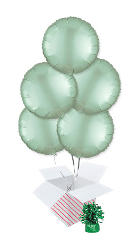 Pastel Mint Green Satin Luxe Round Shape Foil Helium Balloon Bouquet - 5 Inflated Balloons In A Box Product Image