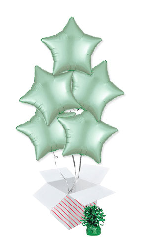 Pastel Mint Green Satin Luxe Star Shape Foil Helium Balloon Bouquet - 5 Inflated Balloons In A Box Product Image
