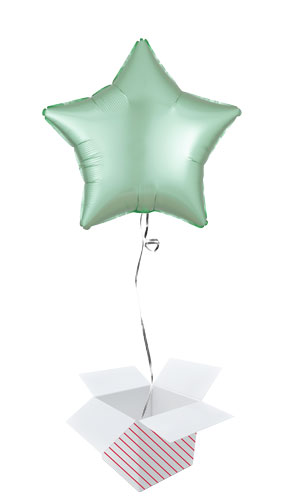 Pastel Mint Green Satin Luxe Star Shape Foil Helium Balloon - Inflated Balloon in a Box