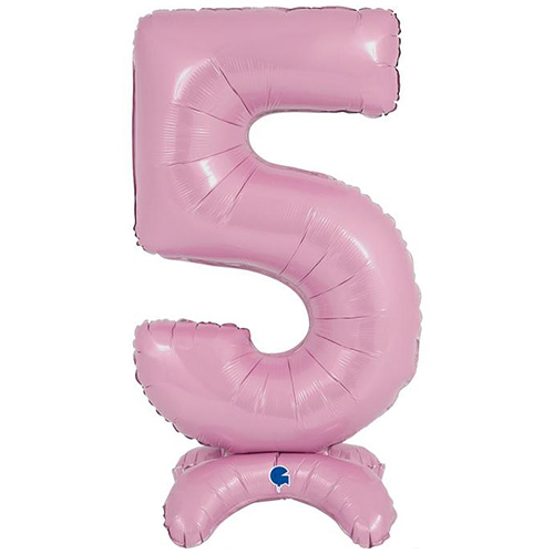 Pastel Pink Number 5 Shaped Air Fill Standing Foil Balloon 64cm / 25 in