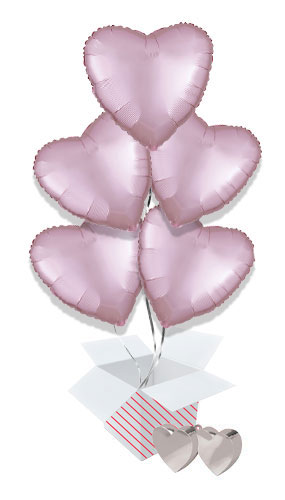 Pastel Pink Satin Luxe Heart Foil Helium Valentine's Day Balloon Bouquet - 5 Inflated Balloons In A Box Product Image