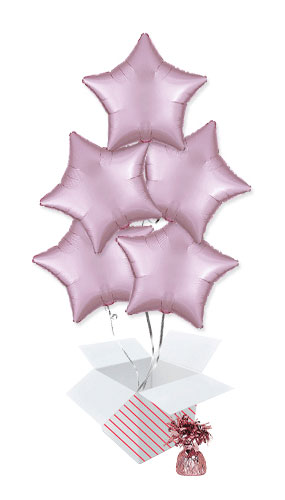 Pastel Pink Satin Luxe Star Shape Foil Helium Balloon Bouquet - 5 Inflated Balloons In A Box Product Image