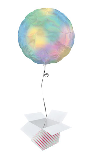 Pastel Rainbow Iridescent Round Foil Helium Balloon - Inflated Balloon in a Box