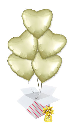 Pastel Yellow Satin Luxe Heart Shape Foil Helium Balloon Bouquet - 5 Inflated Balloons In A Box