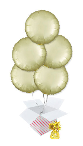 Pastel Yellow Satin Luxe Round Shape Foil Helium Balloon Bouquet - 5 Inflated Balloons In A Box Product Image