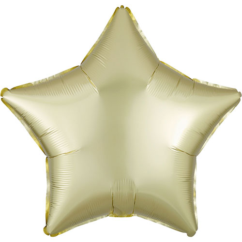 Pastel Yellow Satin Luxe Star Shape Foil Helium Balloon 48cm / 19 in