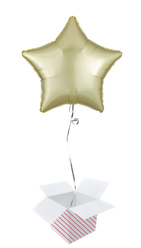 Pastel Yellow Satin Luxe Star Shape Foil Helium Balloon - Inflated Balloon in a Box
