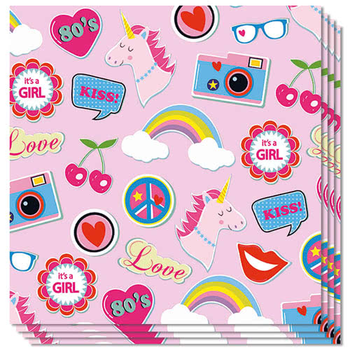 Patches And Pins Pink Luncheon Napkins 3Ply 33cm - Pack of 20 Product Image