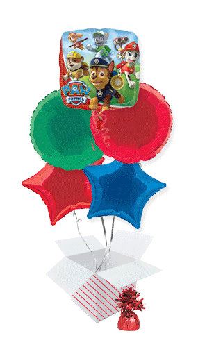 Paw Patrol Foil Helium Balloon Bouquet - 5 Inflated Balloons In A Box Product Image