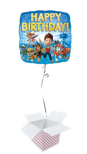 Paw Patrol Happy Birthday Square Foil Balloon - Inflated Balloon in a Box Product Image