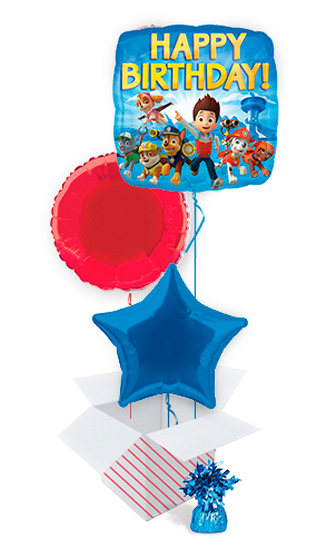 Paw Patrol Happy Birthday Square Foil Helium Balloon Bouquet - 3 Inflated Balloons In A Box Product Image