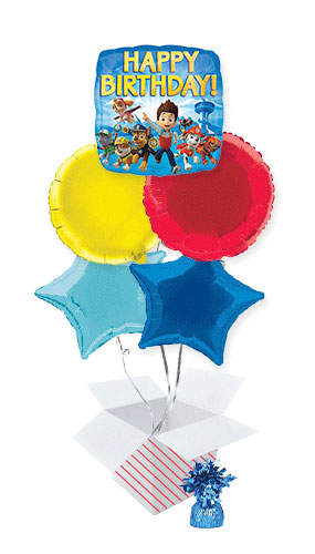 Paw Patrol Happy Birthday Square Foil Helium Balloon Bouquet - 5 Inflated Balloons In A Box Product Image