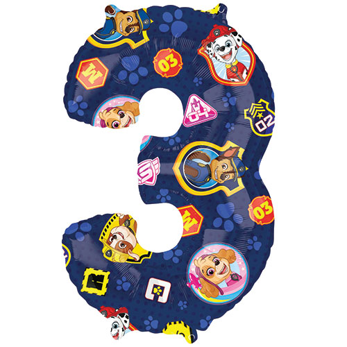 Paw Patrol Number 3 Helium Foil Giant Balloon 66cm / 26 in Product Image