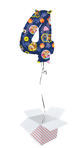 Paw Patrol Number 4 Helium Foil Giant Balloon - Inflated Balloon in a Box Product Image