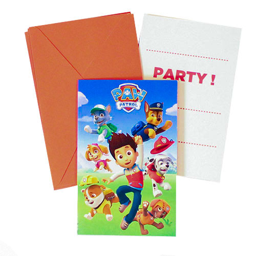 Paw Patrol Party Invitations with Envelopes - Pack of 6